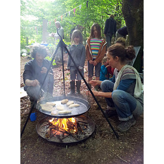 cooking at Both Coed, Allt Goch, Llanidloes